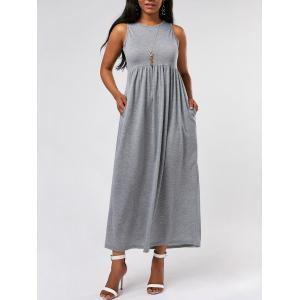 Empire Waist Long Maxi Tank Dress - Gray - S
