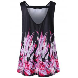 Cut Out Feather Plus Size Tank Top -