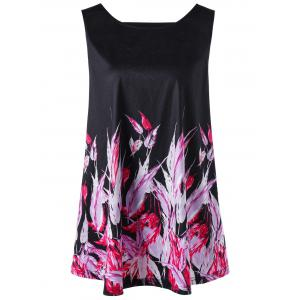 Cut Out Feather Plus Size Tank Top