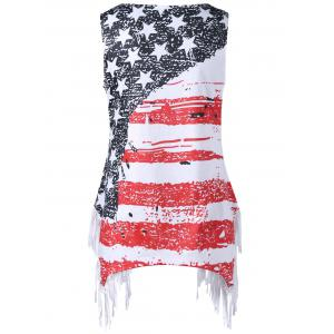 Plus Size Fringed American Flag T-shirt -