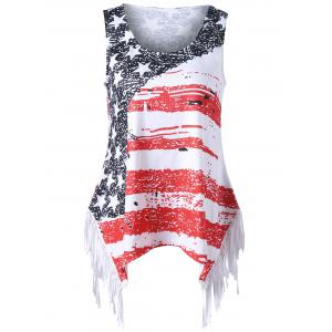 Plus Size Fringed American Flag T-shirt - Colormix - 4xl
