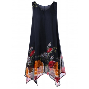 A Line Tunic V Neck Floral Plus Size Handkerchief Dress