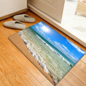 Beach Sea Wave Pattern Water Absorption Flannel Area Rug - Blue - W20 Inch * L31.5 Inch