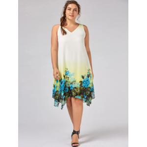 Plus Size Floral Sleeveless Handkerchief Dress -