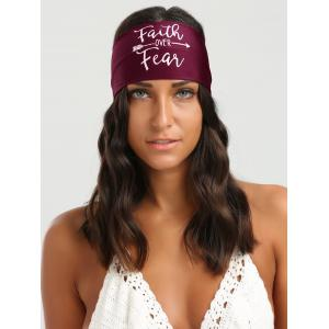 Letters Printed Elastic Sport Headband - Wine Red