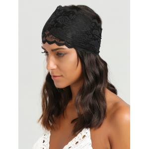 Wide Lacework Rose Elastic Headband - Black - Xl