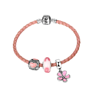 Flower Engraved Love Heart Charm Bracelet
