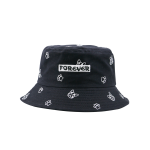 Cartoon Pattern Bucket Hat with Letters Embroidery