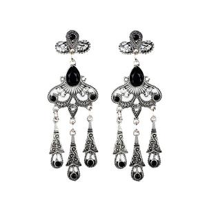 Faux Crystal Water Drop Bohemian Earrings - Black