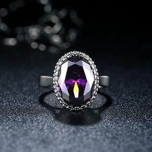 Faux Crystal Zircon Platinum Plated Ring - PURPLE