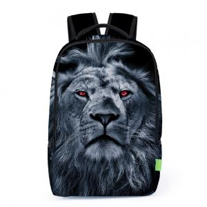 3D Lion Printed Backpack - Deep Blue