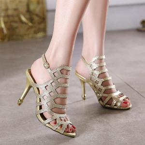 Belt Buckle Glitter Sandals - Golden - 38
