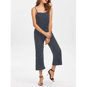 Spaghetti Strap High Waist Striped Jumpsuit