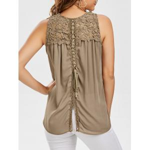 Lace Up Floral Lace Panel Tank Top - Light Khaki - 2xl