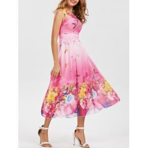 Bohemian Floral Butterfly Print Maxi Dress - Pink - Xl