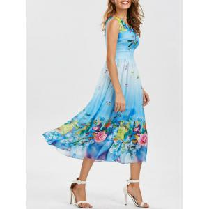 Bohemian Floral Butterfly Print Maxi Dress - Windsor Blue - M