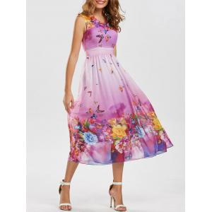 Bohemian Floral Butterfly Print Maxi Dress - Light Purple - M