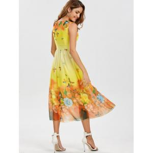 Bohemian Floral Butterfly Print Maxi Dress - YELLOW M