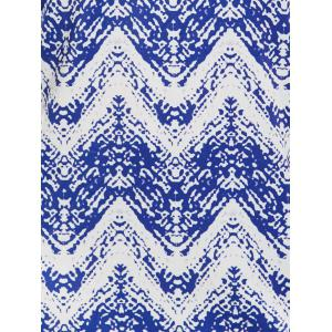 Cold Shoulder Zig Zag Dress - BLUE S