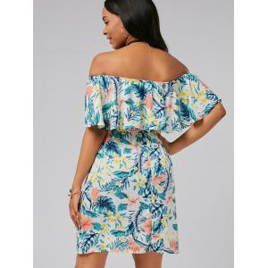 Off The Shoulder Belted Floral Print Dress - MULTI XL