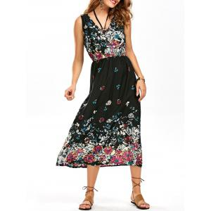 Floral Tea Length Swing Beach Dress