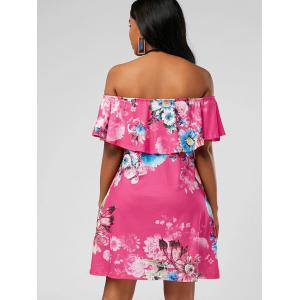 Ruffle Floral Off The Shoulder Dress - ROSE RED XL