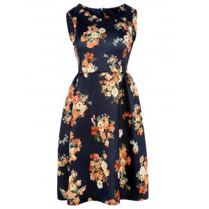 Floral Print Sleeveless Fit and Flare Dress