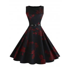 Floral Sleeveless Vintage Fit and Flare Dress