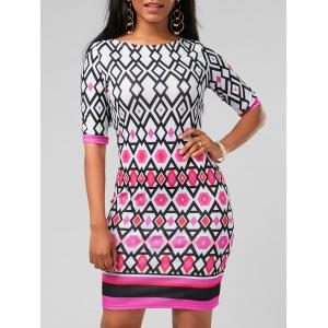 Geometric Printed Mini Bodycon Dress