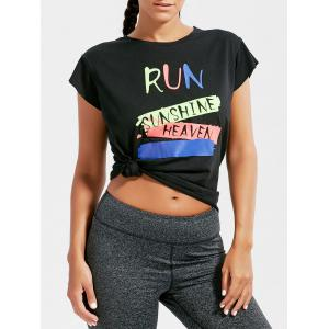 Active Letter Graphic Running T-shirt - Black - One Size