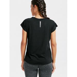Active Letter Graphic Running T-shirt - BLACK ONE SIZE