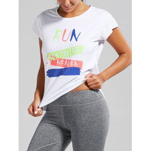 Active Letter Graphic Running T-shirt - White - One Size