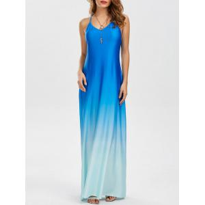 Backless Ombre Color Maxi Dress