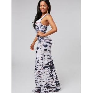 Racerback Tie Dye Floor Length Dress - WHITE S