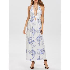Maxi Floral Plunge Backless Hlater Dress for Summer