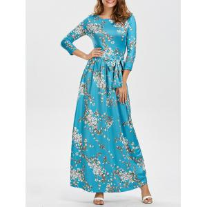 Long Sleeves Floral Maxi Dress with Belt