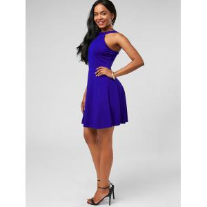 High Neck Mini Fit and Flare Cocktail Dress - BLUE S