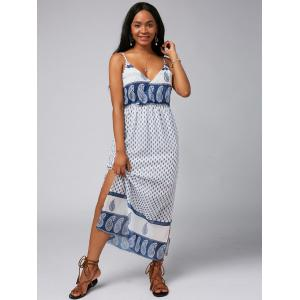 Spaghetti Strap Split Paisley Print Backless Chiffon Maxi Dress - Blanc L
