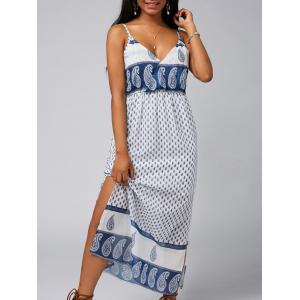 Spaghetti Strap Split Paisley Print Backless Chiffon Maxi Dress
