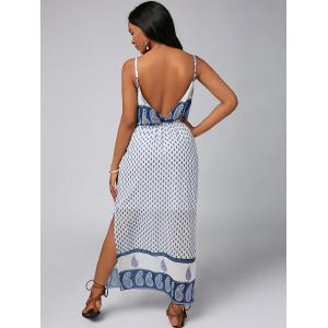 Spaghetti Strap Split Paisley Print Backless Chiffon Maxi Dress - Blanc XL
