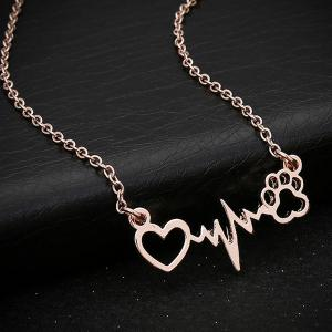 Heart Lightning Paw Shape Necklace - Rose Gold