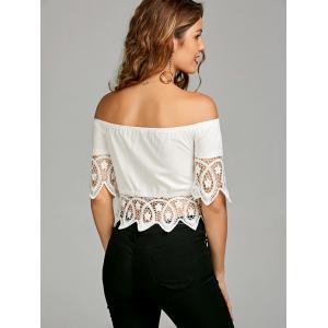 Off The Shoulder Crochet Lace Insert Blouse - WHITE S