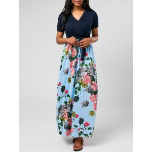 Ankle Length Floral Short Sleeve Maxi Surplice Dress - Blue - Xl