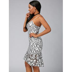 Spaghetti Strap Mermaid Floral Lace Dress - WHITE L
