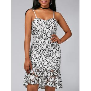 Spaghetti Strap Mermaid Floral Lace Dress - White - 2xl