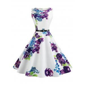 Retro Sleeveless Printed Fit and Flare Dress