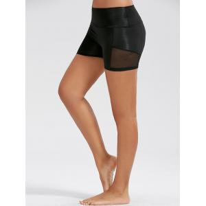 Stretch High Waist Sports Mini Leggings - Black - Xl