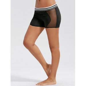Stripe Mesh Panel Workout Mini Leggings - Black - Xl
