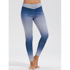High Waist Ombre Funky Gym Leggings - Blue - Xl
