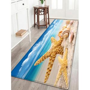 Starfish Conch Beach Pattern Water Absorption Flannel Area Rug
